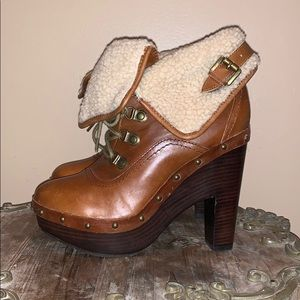 Dolce Vita Brown Leather Sherpa Boots 7.5